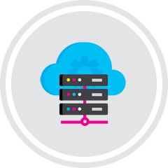 Icon of a cloud and website hosting servers.